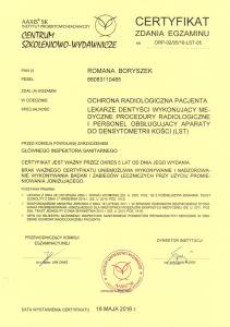 ochrona radiologiczna pacjenta certyfikat